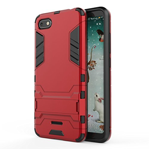 HDRUN Xiaomi Redmi 6A Hülle, 2 In1 Kratzfeste Handyhülle Hybrid TPU Silikon Bumper Schale PC Doppelschichter Schutzhülle Standfunktion für Xiaomi Redmi 6A Hülle Cover, Rot