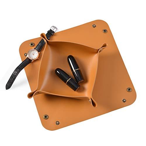 Hivexagon - Juego combinado de bandejas de cuero sacabolsillos, almacenamiento práctico plegable para billetera, reloj, llaves, monedas (marrón)