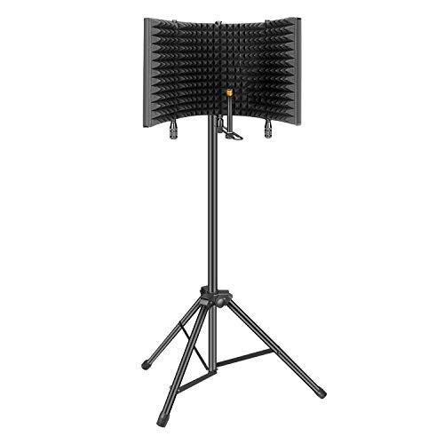 Filtro Anti-pop,Aokeo Studio Recording Microphone Isolation Shield, Pop Filter.Absorbe y Filtra el Sonido.Adecuado para Blue Yeti y Cualquier Micrófono de Condensador (AO-504 con Soporte)