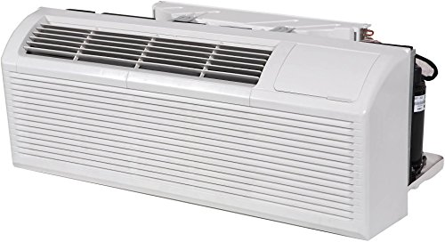 Klimaire KTHN012E3H211BC PTAC Package Terminal Air Conditioner with 12000 BTU 3 kW Electric Heater Heat Pump Quiet Operation Washable Filter and Slim Front Depth in