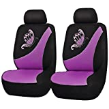 Flying Banner Car Seat Covers 6 PCS Front Seats Polyester Cover Embroidered Butterfly Three-Dimensional (3D) Purple with Black