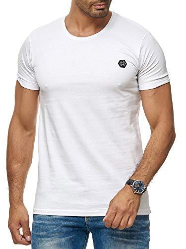 Red Bridge Herren T-Shirt Basic Kurzarm Shirt Baumwolle Rundhals Umgekrempelt M1303 Weiß M