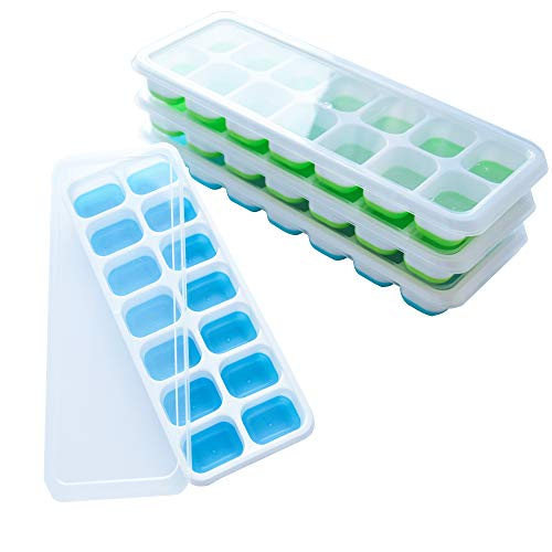 frdzsw 4 Pack Silicone Ice Cube Trays, Ice Cube Moulds with Spill-Resistant Removable Lids, LFGB Certified,Stackable Easy Release,Best Ice Trays for Freezer, Whiskey, Cocktail