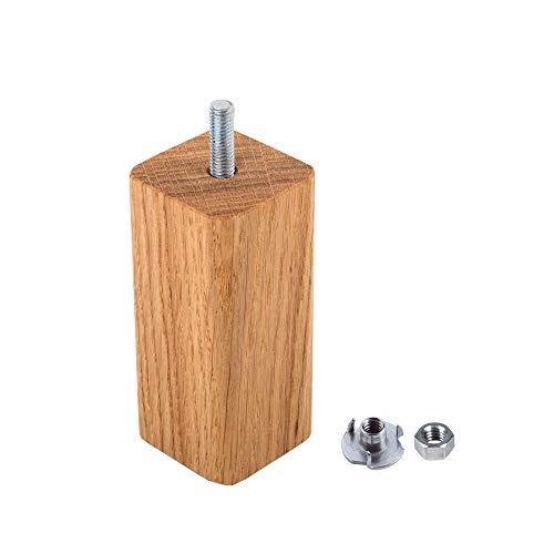 Juego de 20 patas para muebles de madera de roble, 45 x 45 mm, patas de madera para sofá de 10 cm de altura, esquinas redondeadas, patas de madera maciza (20 x 10 cm)