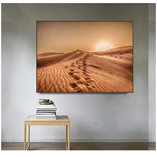 Zhaoyangeng Sahara Woestijn Bizarre Landschap Canvas Schilderij Prints Home Decoratie Wall Art Poster Beeld voor Woonkamer Slaapkamer- 50X70Cm/Unframed