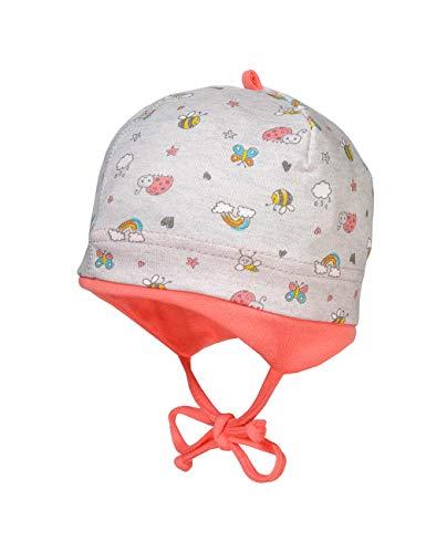 maximo Baby-Mädchen Jerseymütze Mütze, Mehrfarbig (Graumeliert-brillantrot-käfer 1), (Herstellergröße: 43)