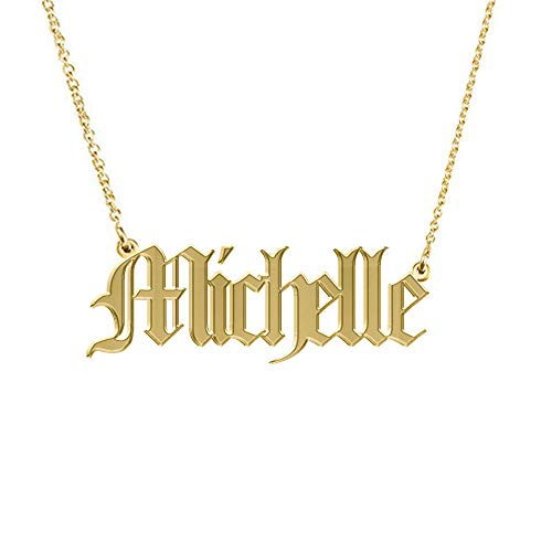 Qermolas Old English Nameplate Necklaces for Women 18 Inch Gold Plated Name Necklace Michelle