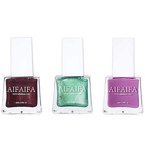 AIFAIFA Fall Winter Nail Polish, Metallic Green Nail Color, Metallic Berry Maroon Nail Polish, Rose Red, Long Lasting, Quick Dry, 0.35FL/oz