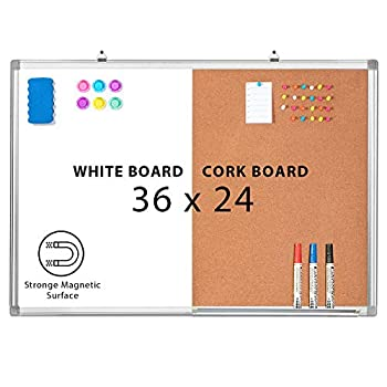 Combination Whiteboard Bulletin Cork Board 36x24 Combo White Board Magnetic Dry Erase Board + Corkboard for Homeschooling Office Classroom Hanging Message Board Wall Mounted