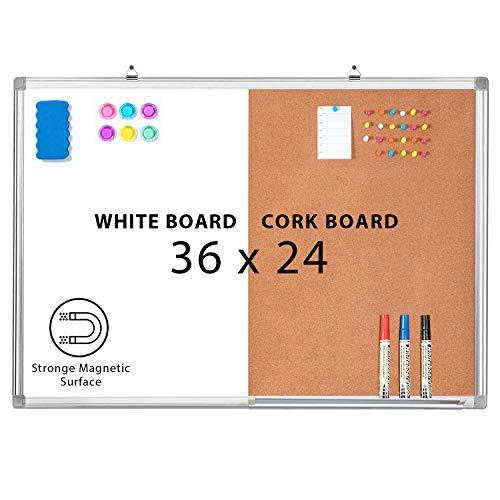 Combination Whiteboard Bulletin Cork Board 36x24 Combo White Board Magnetic Dry Erase Board + Corkboard for Homeschooling, Office, Classroom Hanging Message Board Wall Mounted