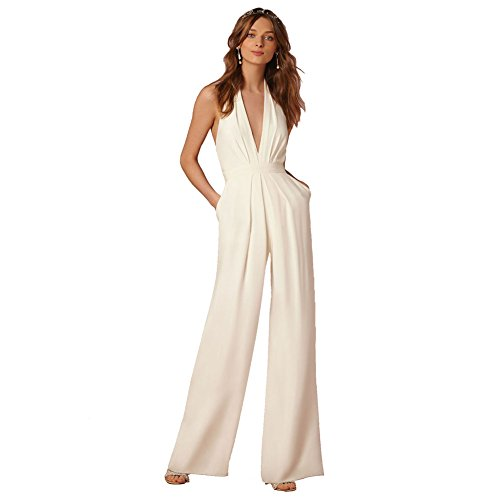 Lielisks Sexy Jumpsuits Formal Sleeveless V-neck Halter Wide Leg Long Pants White M