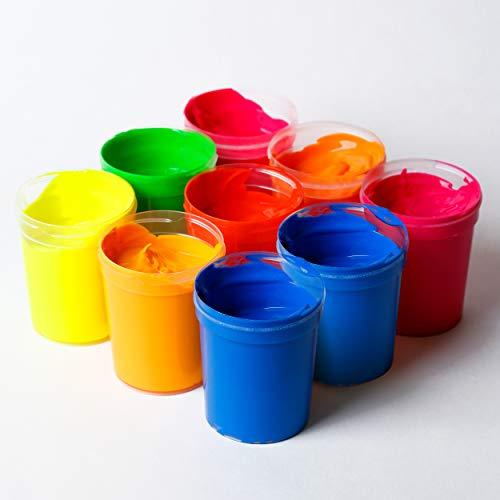decomonkey | Fluoreszierende Schwarzlicht Wandfarbe und für Kunst Holz Papier und Wohnraum | Neonfarbe für Kleidung und Stoffe | Leuchtfarben mit Glow-Effekt | Farbe Komplettes Set 9 x 90ml
