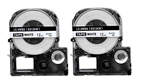 "2PK Onirii Label Tape Refill Cartridge for Epson LabelWorks LC-4WBN9 Black on White,Length:8m(26.2ft) Width:12mm(0.47"")"
