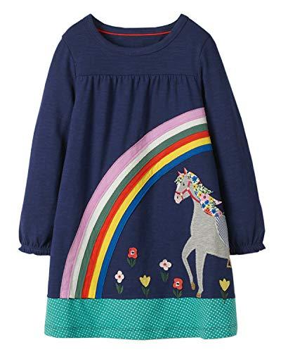 Beilei Creations Mädchen Kleider Baumwolle Karikatur Stickerei Casual Jersey Kleider Gr.85-130 (5Jahre/110cm, Regenbogen)