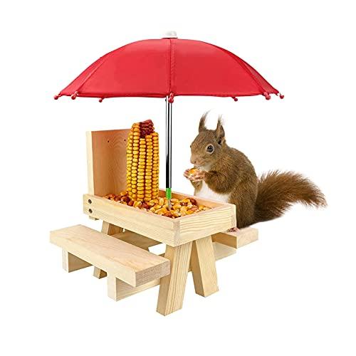 fuguzhu Eichhörnchen Futterhaus, Holz Mini Picknicktisch Eichhörnchen-Futterstation Langlebig, Picknick Tisch, Lustige Bank für Eichhörnchen oder Baum, für Eichhörnchenliebhaber (Beige)