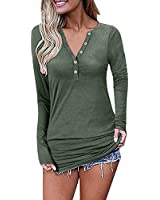 MCYY Womens Long Sleeve V-Neck Button Causal Tops Blouse T Shirt (Green, Medium)