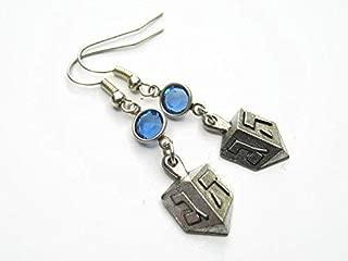 Dreidel Birthstone Earrings, Personalized Hanukkah Earrings, Jewish Jewelry, Israeli Earrings, Judaism Earrings, Chanukah