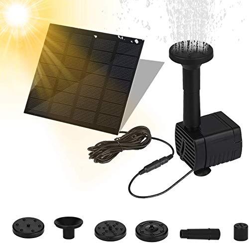 Molbory Solar Springbrunnen Solar Teichpumpe mit Solar Panel Eingebaute Batterie Wasserpumpe Solar Schwimmender Fontäne Pumpe mit 4 Fontänenstile für Gartenteiche Fisch-Behälter und Vogel-Bad,Quadrat