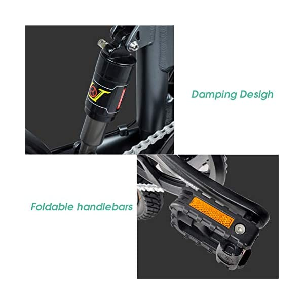 """Electric Bikes Folding Ebike FIIDO D2S 16"""" Electric Bike 250W Aluminum Electric Bicycle with Pedal for Adults and Teens, or Sports Outdoor Cycling Travel Commuting, Shock Absorption Mechanism"""