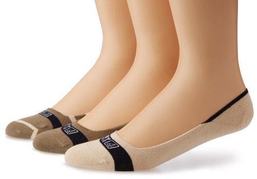 Sperry Top-Sider Men's Signature Insivisble Striped 3 Pair Pack Liner Socks, Taupe/Bone, Medium/Large(Shoe Size 9.5-13)