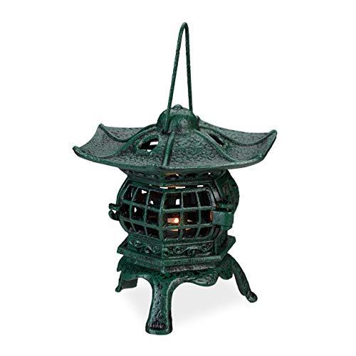 Relaxdays Farol Portavelas, Candelabro Asiático, Forma de Templo, Hierro Fundido, 1 Ud, 29,5 x 21,5 x 19 cm, Verde