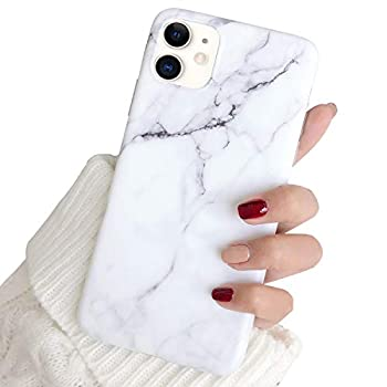 Hapitek iPhone 11 Case iPhone 11 Marble Case Slim Soft Flexible TPU Marble Floral Pattern Protective Cover for Apple iPhone 11 6.1   White