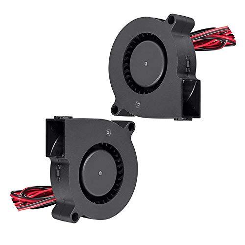 Furiga Ventilador de impresora 3D 12V DC 50X50X15mm 5015 Ventilador de refrigeración radial Ventilador 1M Cable para disipador de calor 2PCS