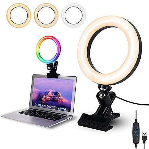 otutun Anillo de Luz,6'' Aro de Luz, Anillo de Viodeoconferencia con 3 Modos 10 Brillos Regulables y 360°rotable Anillo de Luz para Movil TIK Tok, Maquillaje, Selfie, Streaming, Youtube