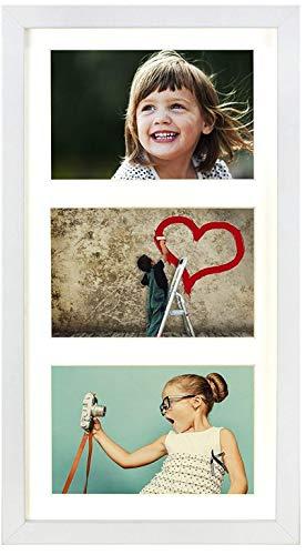 BD ART 23 x 50 cm Mehrfach Bilderrahmen, Bildergalerie, Fotogalerie mit Passepartout und 3 Foto-Ausschnitten für Fotos 13 x 18 cm, Weiß