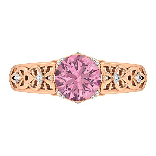 Rosec Jewels 14 quilates oro rosa redonda Round Brilliant Pink Moissanite Tourmaline