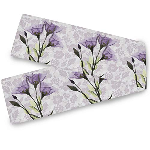 Vintage Art Purple Flower Table Runner 13x70 Inches Double Sided Violet Lavender Table Runners Cloth Washable Kitchen Spring Summer Floral Dining Fabric for Wedding Party Birthday Decorations