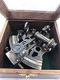 Hermoso sextante de navegación alemán de latón hecho a mano con caja de madera | Sextante de latón original | Instrumento de barco | Modelo Astrolabe