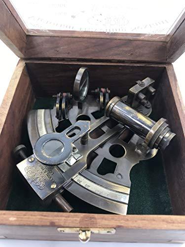 Wunderschöner handgefertigter Messingsextant mit Holzbox | Original Messing-Sextant | Schiffsinstrument | Astrolabe-Modell