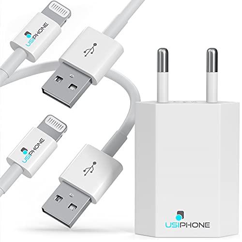 Enchufe de Carga USB con [2 Pack] Cable de 1M para iPhone - Cable con Conector Compatible Apple iPhone XS XS MAX XR 8 7 6 6S Plus 10 11 12 iPad Air Mini Pro iPod - Cable de Carga USB para Cargar