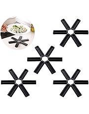 Isolatie potmat, opvouwbare onderzetter, keukenaccessoires, antislip, hittebestendig, wasbaar, voor potten en pannen (4 stuks)