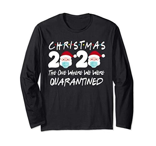Christmas 2020 Quarantine Christmas Santa Face Wearing Mask Long Sleeve T-Shirt
