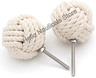 White Cotton Rope Door Knobs/Rope Knot Drawer Pulls and Knobs/Pull and Push Handle Knobs for Cabinets, Wardrobes & Cupboards/Nautical Hardware Decor, 58 mm, Set of 2