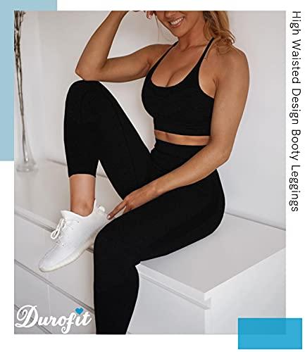 DUROFIT Mallas Push Up Pantalones Deportivos Leggings Mujer Mallas Deportivas Fitness Leggins Polainas de Yoga Training Fitness Estiramiento Negro S