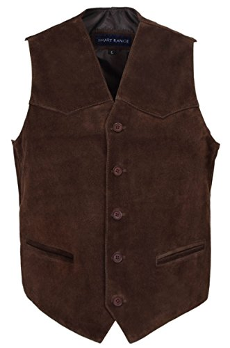 Les Hommes du Parti Marron Fashion Classic Designer véritable Cuir Velours Cuir Gilet. (UK Small/EU 48)