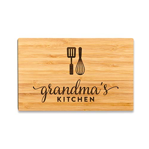 Andaz Press Laser Engraved Small Bamboo Wood Cutting Board, 9.5 x 6-inch, Grandma's Kitchen, 1-Pack,...