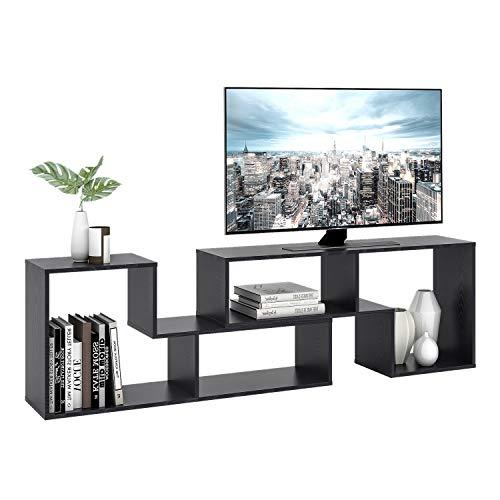 DEVAISE Multifunctional Hölzernen TV-Lowboard/Bücherregal/TV Schrank; 15mm Dicke, Schwarz