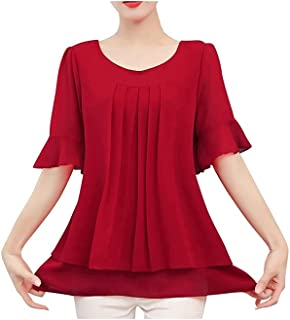 Fyuanmeiinsdxnv Womens tops summer Lady Solid Color Blouse Women Top Chiffon Short Sleeve Casual Shirt Blouse Office Wear ...