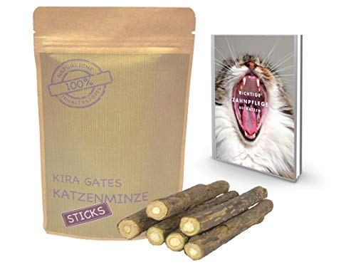 Kira Gates natürliche Matatabi Katzenminze Sticks. die natürliche Zahnbürste für Deine Katze + eBook Richtige Zahnpflege bei Katzen