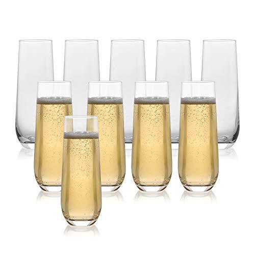 Juego de 10 copas clásicas de champán sin tallo (10 onzas) – Tostado espumoso/Flautas de boda