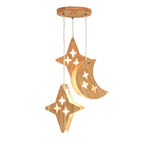 TMY Bois massif LED Lustre En Verre Abat-jour Etoiles Lune Couloir Plafond Lampe Bar Restaurant E14 (Taille : 44CM-E14*3)