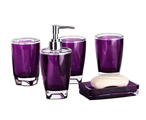 Yiyida Bathroom Essentials Set - 5 Piece Bathroom Accessories Set - Tumbler, Soap Dish, Soap Dispenser, Toilet Brush & Holder,Stylish and Durable (Purple)