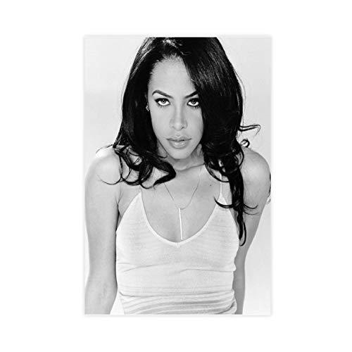 R&B Sänger Schauspieler Aaliyah Aaliyah Schwarz-Weiß Leinwand Kunst Poster und Wandkunst Bild Druck Moderne Familie Schlafzimmer Dekor Poster 30 × 45 cm ohne Rahmen style1