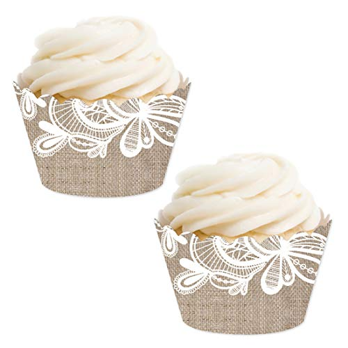 Andaz Press Party Cupcake Wrapper Decorations, Burlap Lace, 24-Pack, for Girls 1st Birthday Baby Bridal Shower Tea Party Themed Decorations