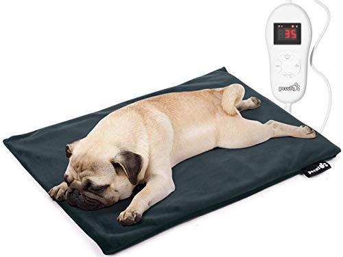 Pecute Manta Electrica Perro, Manta Termica para Perros 5 Ajustes de Temperatura y 2 Cubiertas de Franela, Incombustible,Impermeable, Antichoque (M 50 * 40cm)