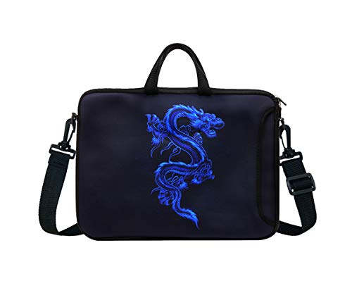 "10-Inch Neoprene Laptop Tablet Shoulder Messenger Bag Case Sleeve for 9.7 10 10.1 10.5"" Inch Netbook/Ipad Pro/Air (Blue Dragon)"